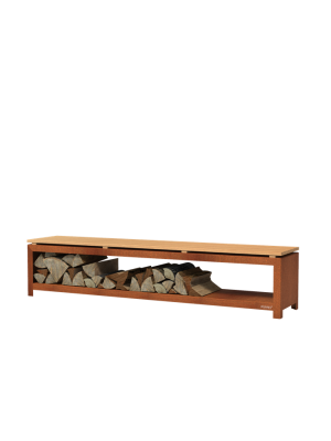 Forno Houtopslag Bank - Cortenstaal (2000x400x430mm)